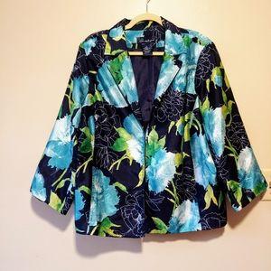 Susan Graver blazer jacket artistic floral print